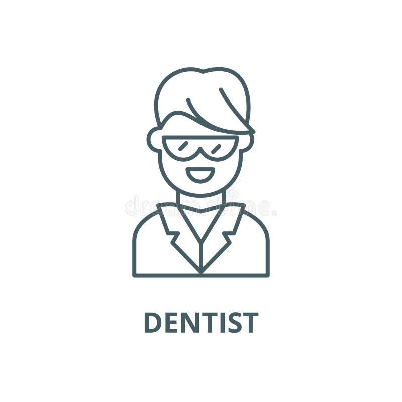 Pictogram van de tandarts het vectorlijn, lineair concept, overzichtsteken, symbool vector illustratie