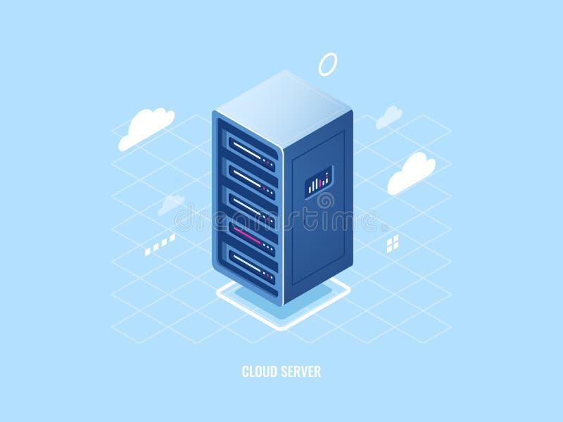 Pictogram van de technologie van de wolkenopslag, het vlakke isometrische rek van de serverruimte, blockchain veiligheidsconcept, stock illustratie