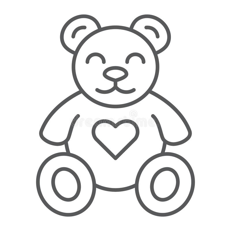 Pictogram van de teddybeer het dun lijn, dier en kind, pluchestuk speelgoed teken, vectorafbeeldingen, een lineair patroon op een vector illustratie