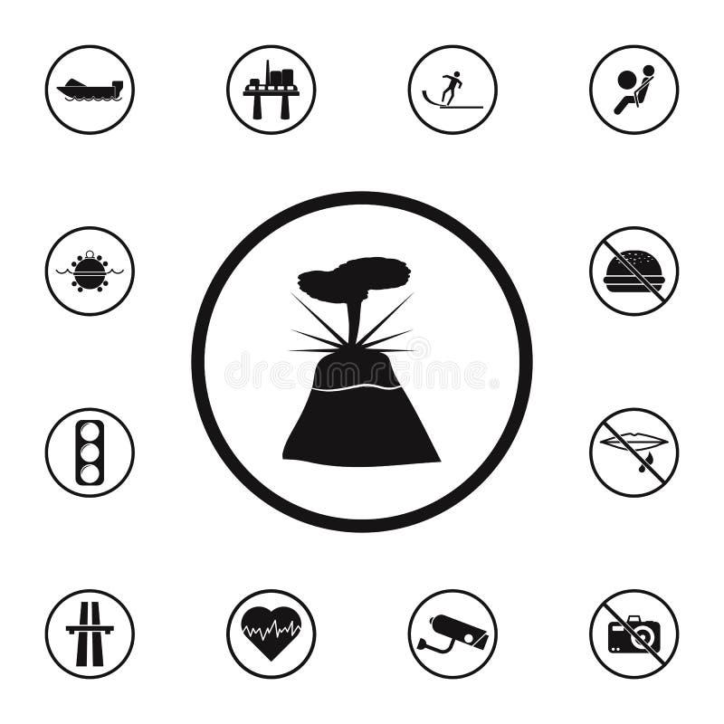 pictogram van de teken het gevaarlijke vulkaan Gedetailleerde reeks Waarschuwingsbordenpictogrammen Grafisch het ontwerpteken van stock illustratie