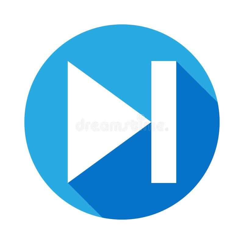 pictogram van de teken het volgende muziek met lange schaduw Element van Webpictogrammen Grafisch het ontwerppictogram van de pre stock illustratie