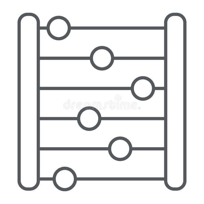 Pictogram van de telraam het dunne lijn, boekhouding en wiskunde, tellend teken, vectorafbeeldingen, een lineair patroon op een w vector illustratie