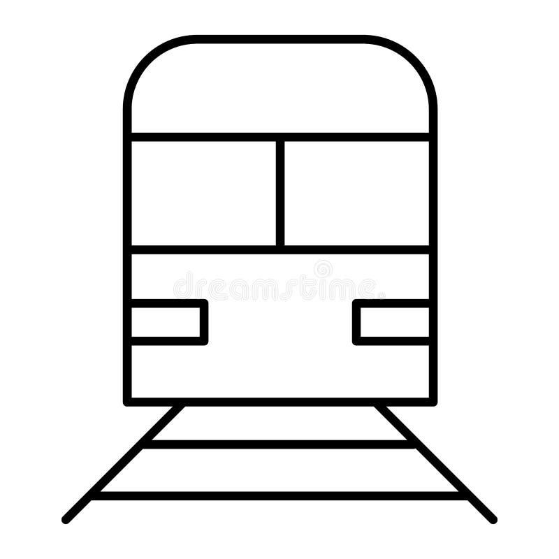 Pictogram van de trein het dunne lijn Spoorweg vectordieillustratie op wit wordt geïsoleerd De metro met de stijlontwerp van het  royalty-vrije illustratie