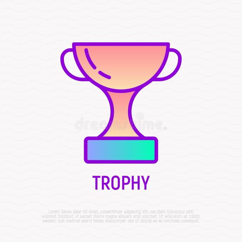Pictogram van de trofee het dunne lijn Moderne vectorillustratie stock illustratie