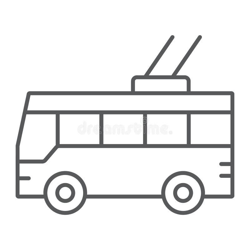 Pictogram van de trolleybus het dunne lijn, vervoer en openbaar, verkeersteken, vectorgrafiek, een lineair patroon op een witte a stock illustratie