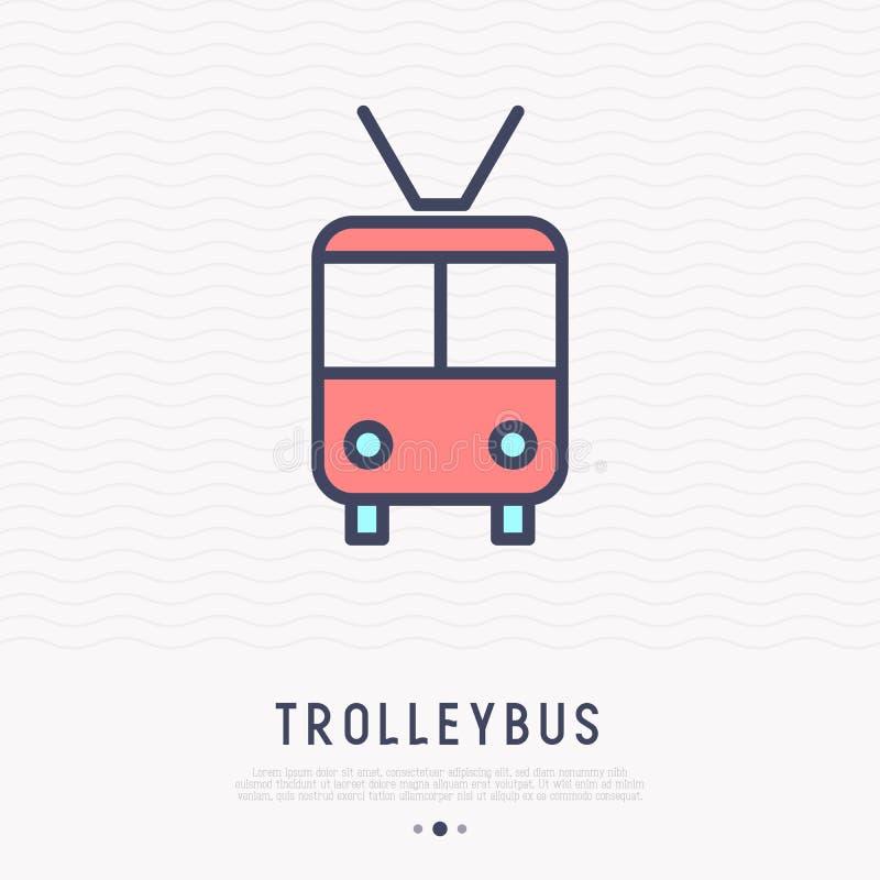 Pictogram van de trolleybus het dunne lijn, vooraanzicht royalty-vrije illustratie