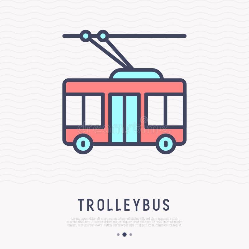 Pictogram van de trolleybus het dunne lijn, zijaanzicht, royalty-vrije illustratie