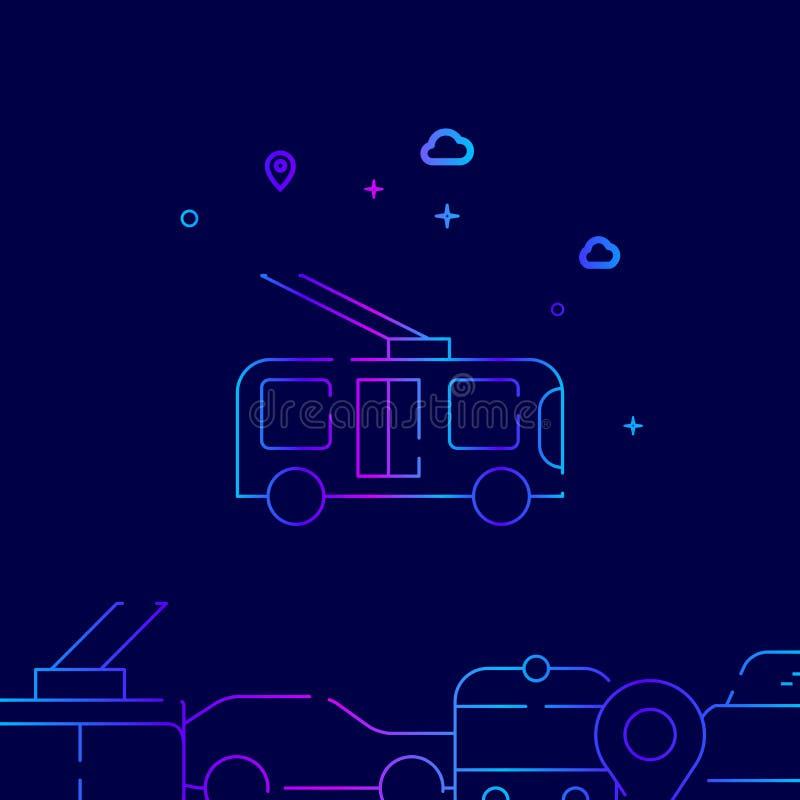 Pictogram van de trolleybus het Vectorlijn, Illustratie op een Donkerblauwe Achtergrond Verwante Bodemgrens royalty-vrije illustratie
