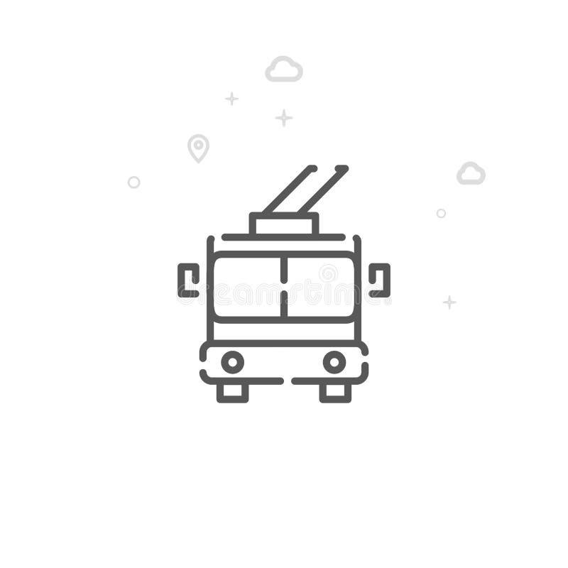 Pictogram van de trolleybus het Vectorlijn, Symbool, Pictogram, Teken Lichte abstracte geometrische achtergrond Editableslag stock illustratie