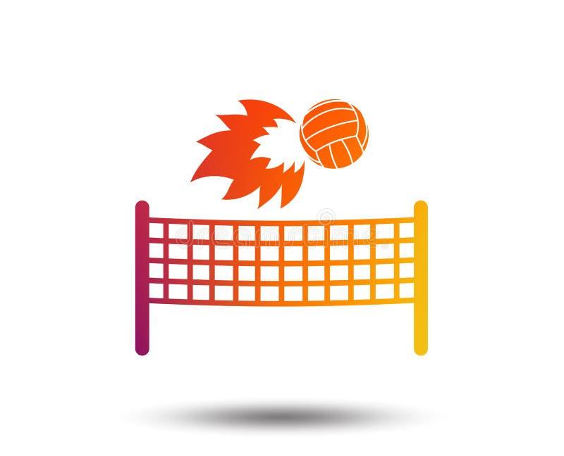 Pictogram van de volleyball het netto vuurbol Het symbool van de strandsport stock illustratie