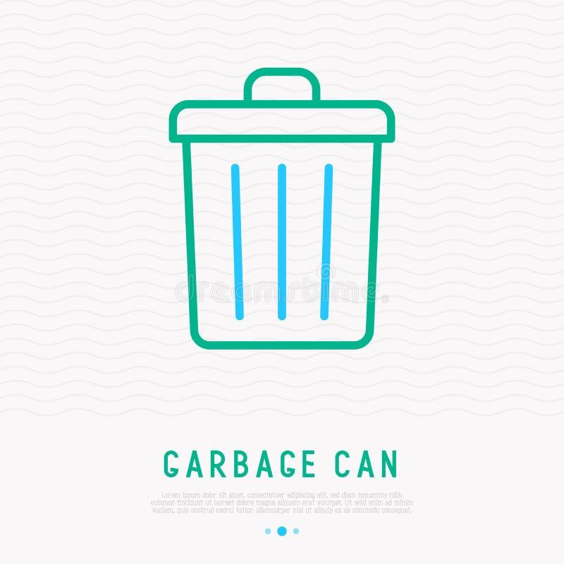 Pictogram van de vuilnisbak het dunne lijn vector illustratie