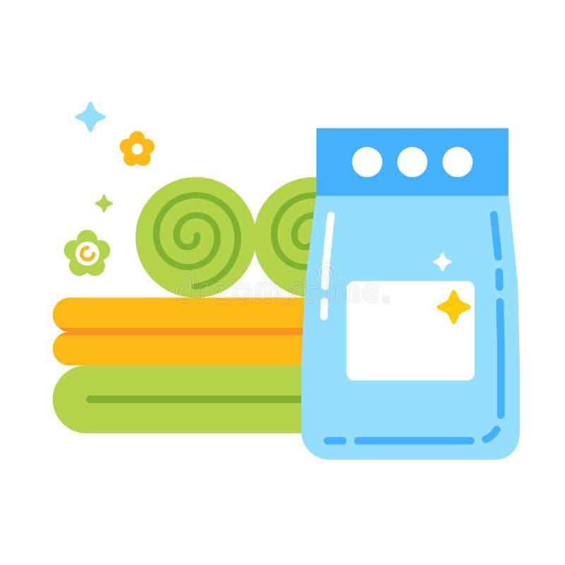Pictogram van de wasserij het vlakke kleur Teken voor webpagina, mobiele toepassing, banner Ge?soleerd vlak malplaatje vector illustratie