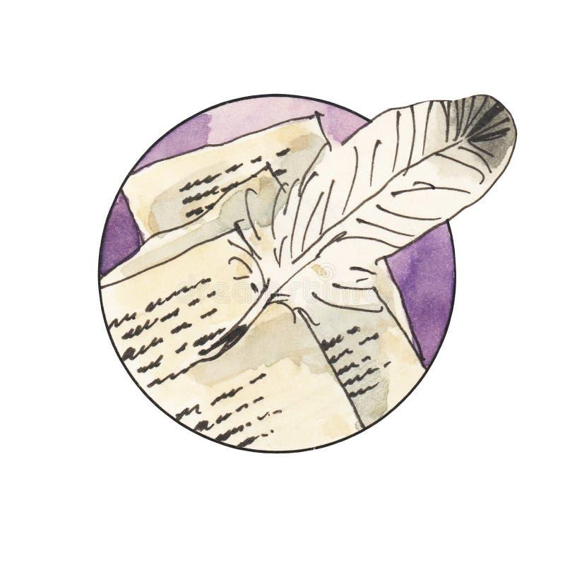 Pictogram van de waterverf het uitstekende poëzie Brieven, veer, penhulpmiddel Hand getrokken illustratie stock illustratie