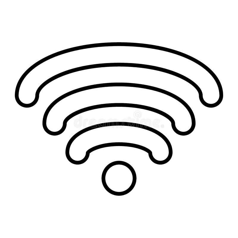 Pictogram van de Wifi het dunne lijn De vectordieillustratie van Internet op wit wordt geïsoleerd De stijlontwerp van het signaal vector illustratie