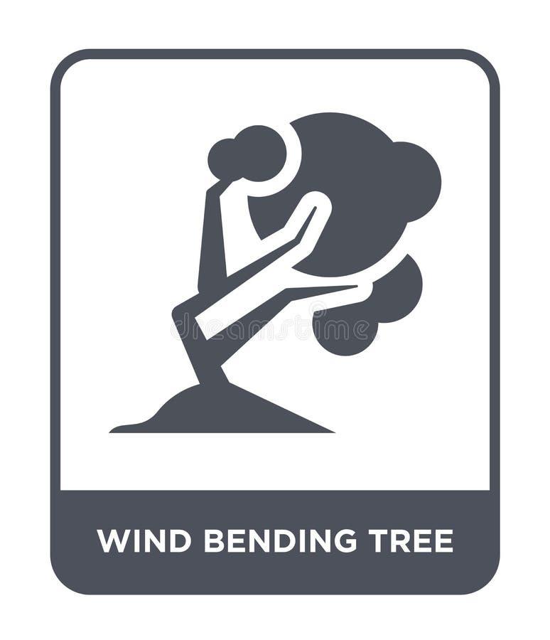 pictogram van de wind het buigende boom in in ontwerpstijl pictogram van de wind het buigende die boom op witte achtergrond wordt vector illustratie