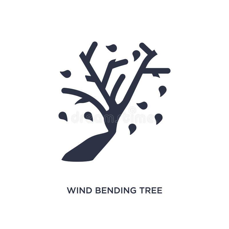 pictogram van de wind het buigende boom op witte achtergrond Eenvoudige elementenillustratie van ecologieconcept royalty-vrije illustratie