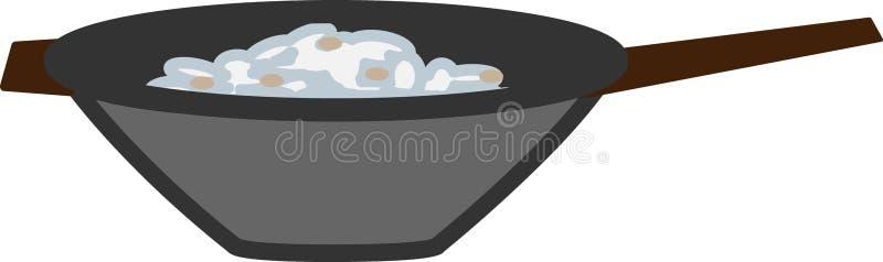 Pictogram van de wok het pan eenvoudige kleur stock foto