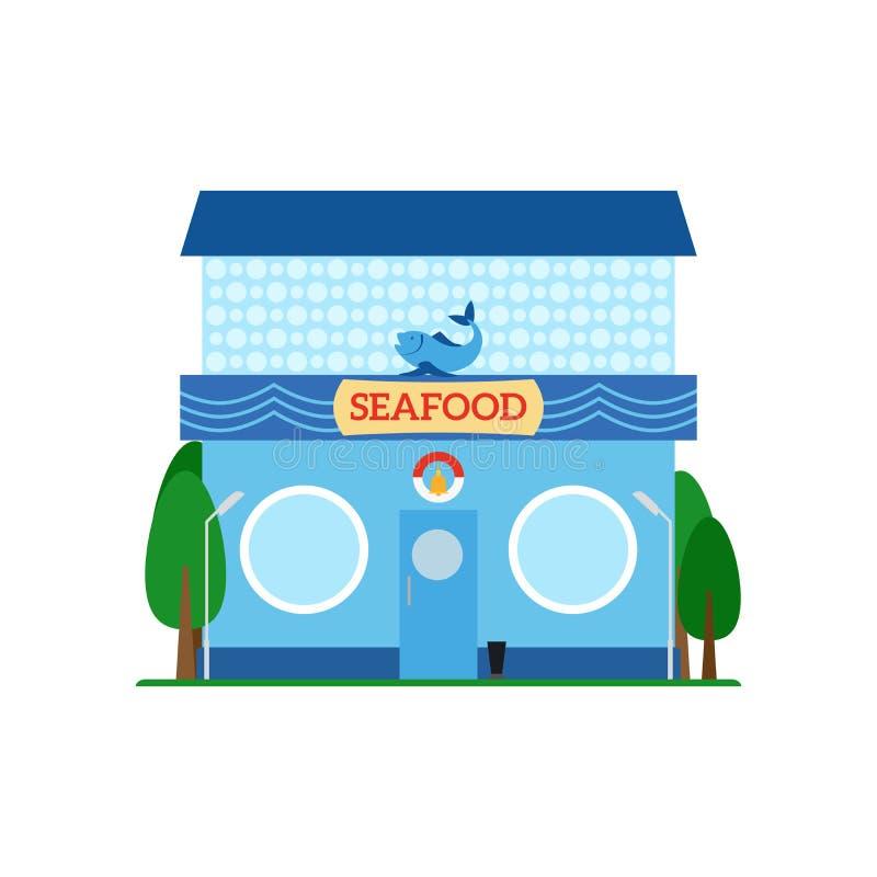 Pictogram van de zeevruchten het vlakke stijl op wit vector illustratie