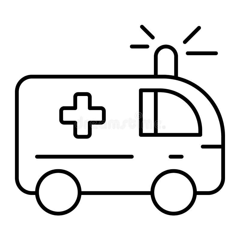 Pictogram van de ziekenwagen het dunne lijn Medische auto vectordieillustratie op wit wordt geïsoleerd De stijlontwerp van het no stock illustratie