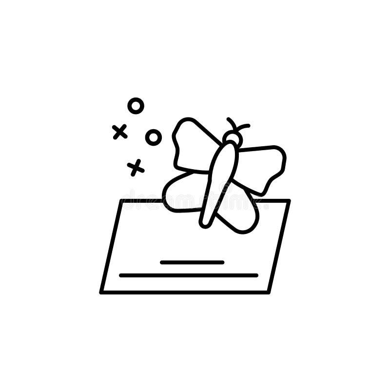 Pictogram van de zijdevlinder van textiel Element van het pictogram van de eigenschappen van de stof vector illustratie