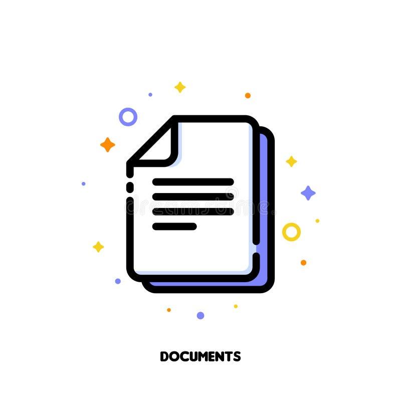 Pictogram van documenten voor het concept van het bureauwerk Vlak gevuld overzicht royalty-vrije illustratie