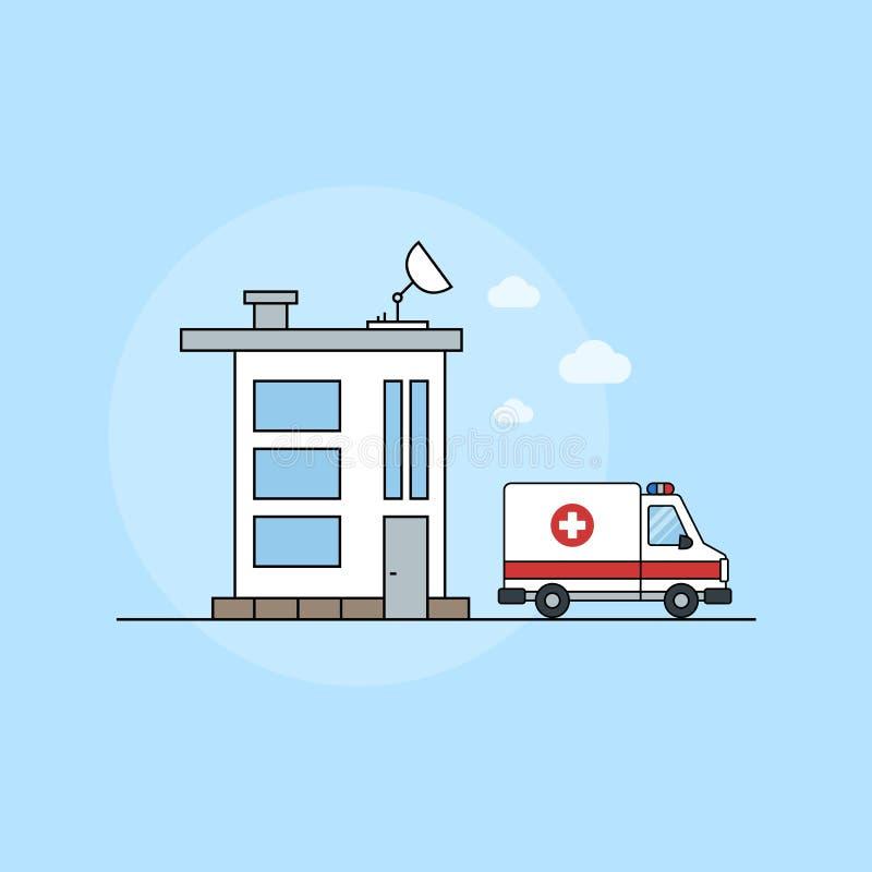 Pictogram van een modern medisch centrum op een blauwe achtergrond voor websites royalty-vrije illustratie