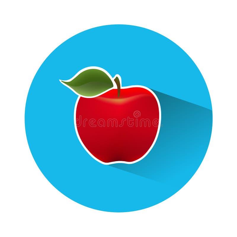 Pictogram van een rode appel op een blauwe achtergrond stock fotografie