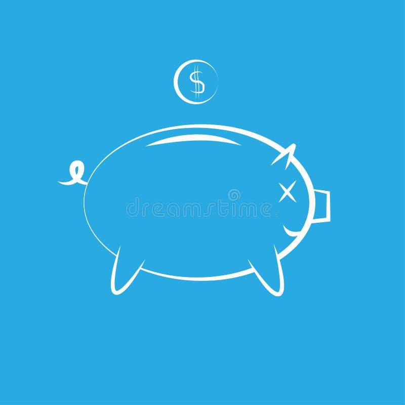 Pictogram van een spaarvarken voor geldbesparing vector illustratie