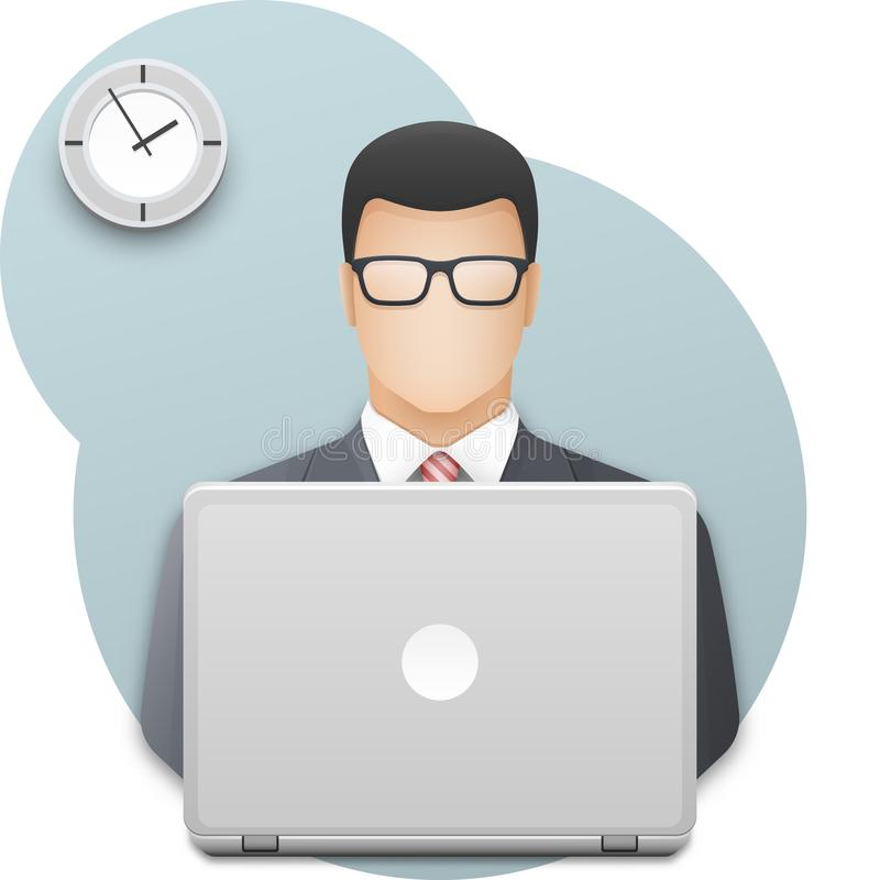 Pictogram van een zakenman in glazen met laptop De succesvolle jonge mens kleedde zich in grijs pak die aan laptop werken vector illustratie