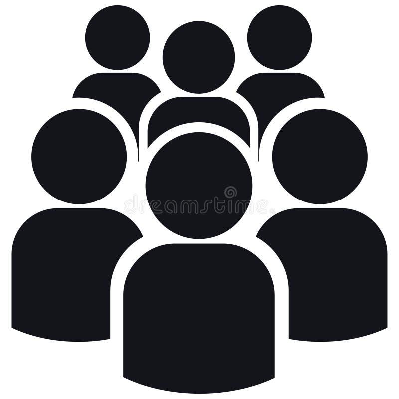 Pictogram van groep van zes mensensilhouetten stock illustratie