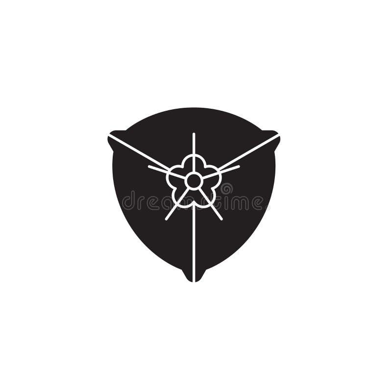 Pictogram van het bougainvillea het zwarte vectorconcept Bougainvillea vlakke illustratie, teken vector illustratie