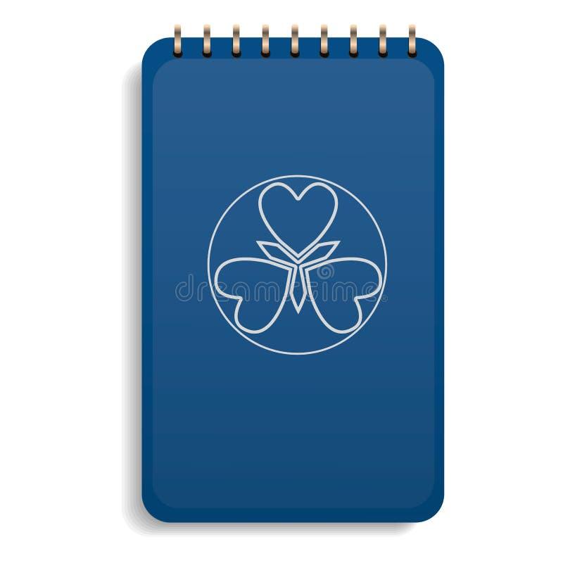 Pictogram van het bureau het blauwe notitieboekje, realistische stijl stock illustratie