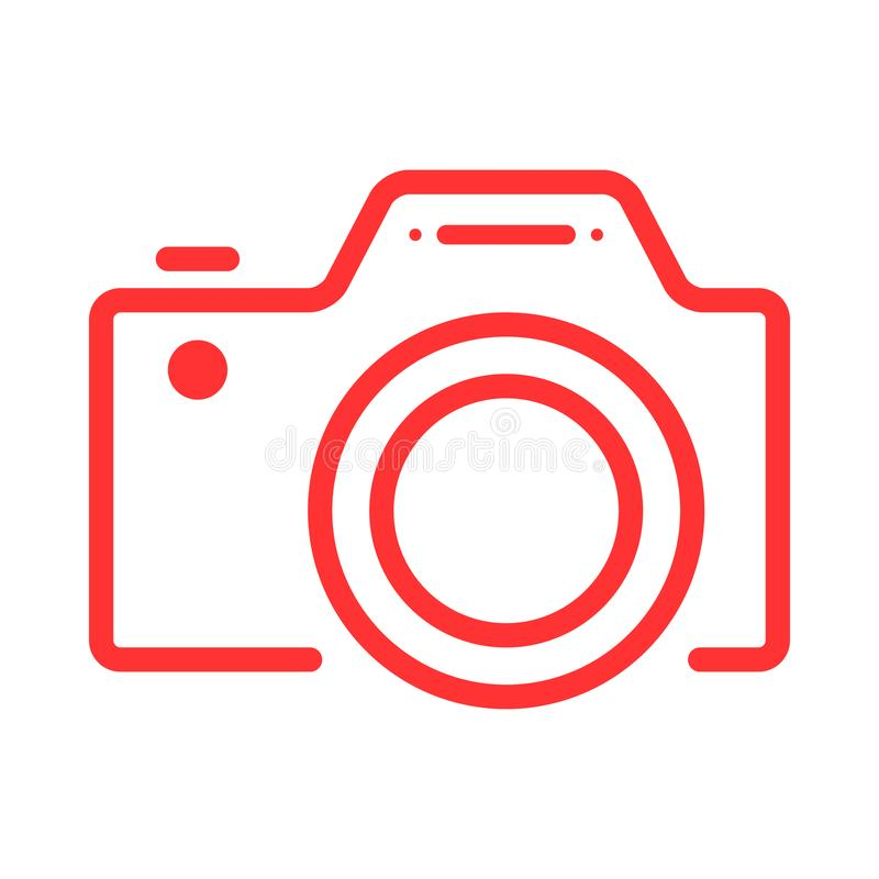 Pictogram van het camera het vlakke Web met hoogte - het symbool van het kwaliteitsoverzicht Web of mobiele app royalty-vrije illustratie