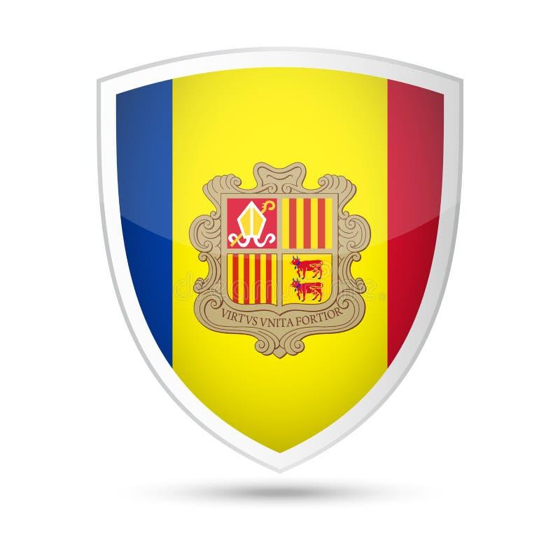 Pictogram van het de Vlag het Vectorschild van Andorra royalty-vrije illustratie