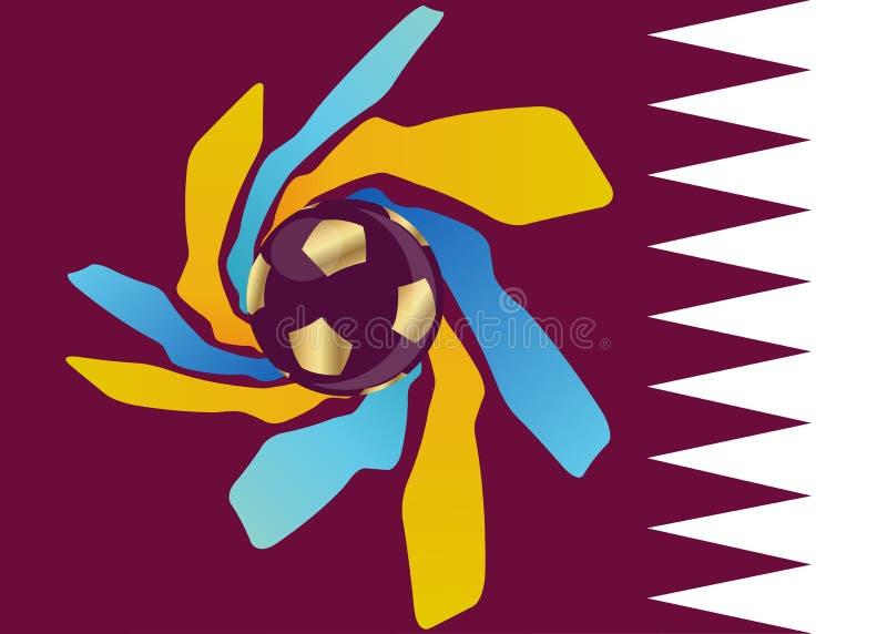 pictogram van het de voetbalvoetbal van 2022 het gouden van Qatar, abstract bannerembleem voor de achtergrond van het de Wereldbe vector illustratie