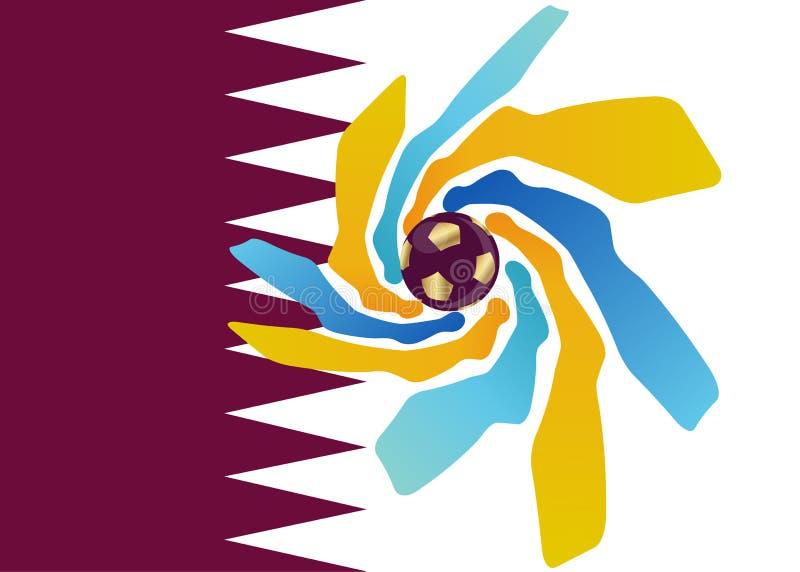 pictogram van het de voetbalvoetbal van 2022 het gouden van Qatar, abstract bannerembleem voor de achtergrond van het de Wereldbe stock illustratie