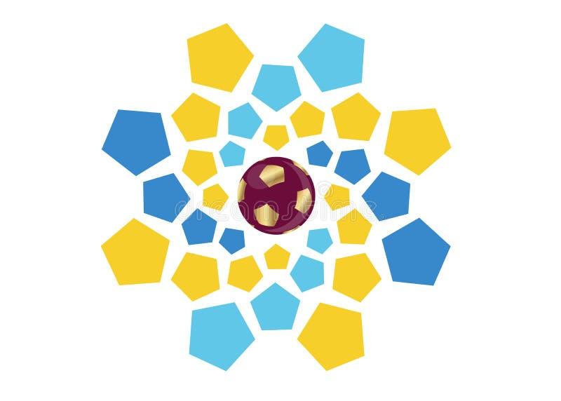 pictogram van het de voetbalvoetbal van 2022 het gouden van Qatar, abstract bannerembleem voor de achtergrond van het de Wereldbe royalty-vrije illustratie