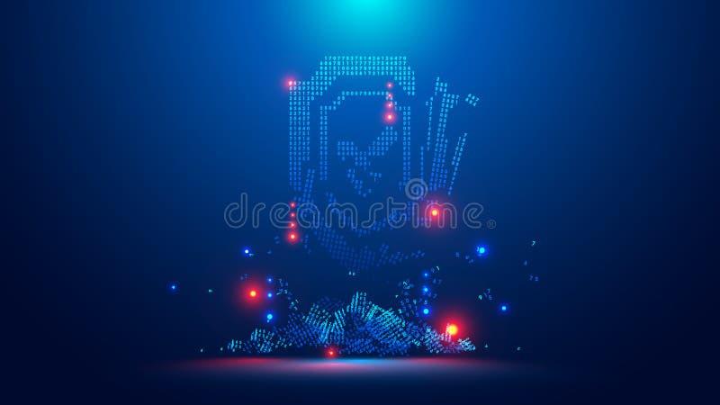 Pictogram van het digitale gebroken schild De veiligheidsbarst van symbool het digitale cyber binnendringen in een beveiligd comp stock illustratie