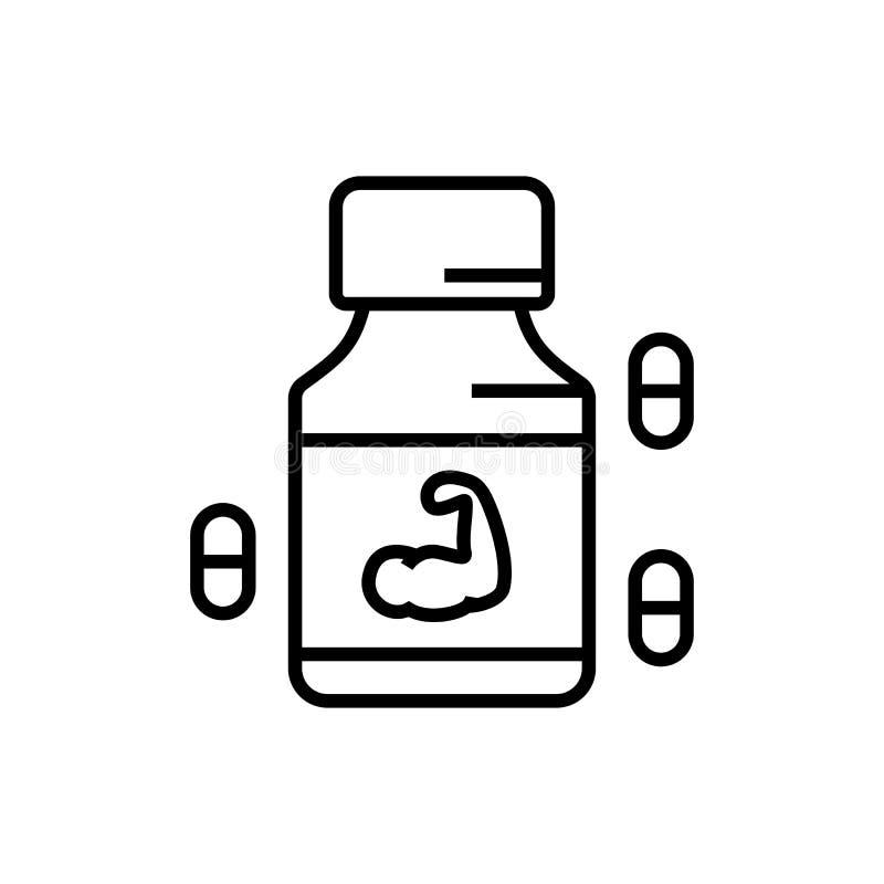 Pictogram van het geschiktheids het eiwitsupplement met pillensymbool geneeskunde voor bodybuilderillustratie eenvoudige grafisch vector illustratie