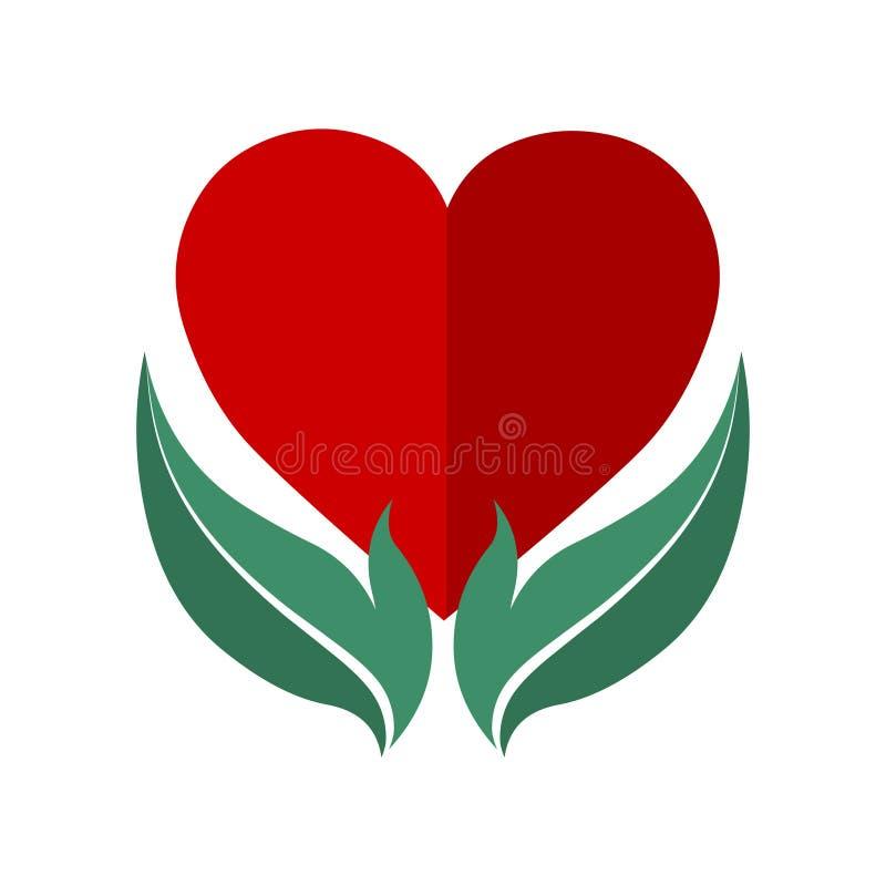 Pictogram van het hart in hand embleem Het Pictogram van het hart vector illustratie