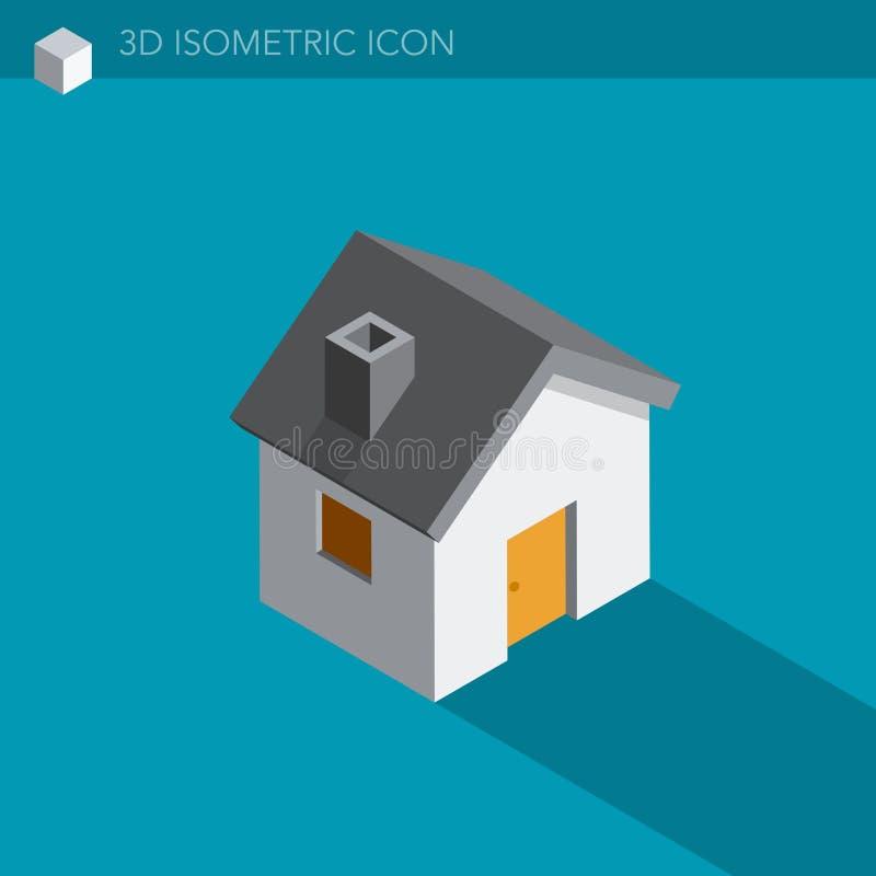 Pictogram van het huis 3D isometrische Web vector illustratie