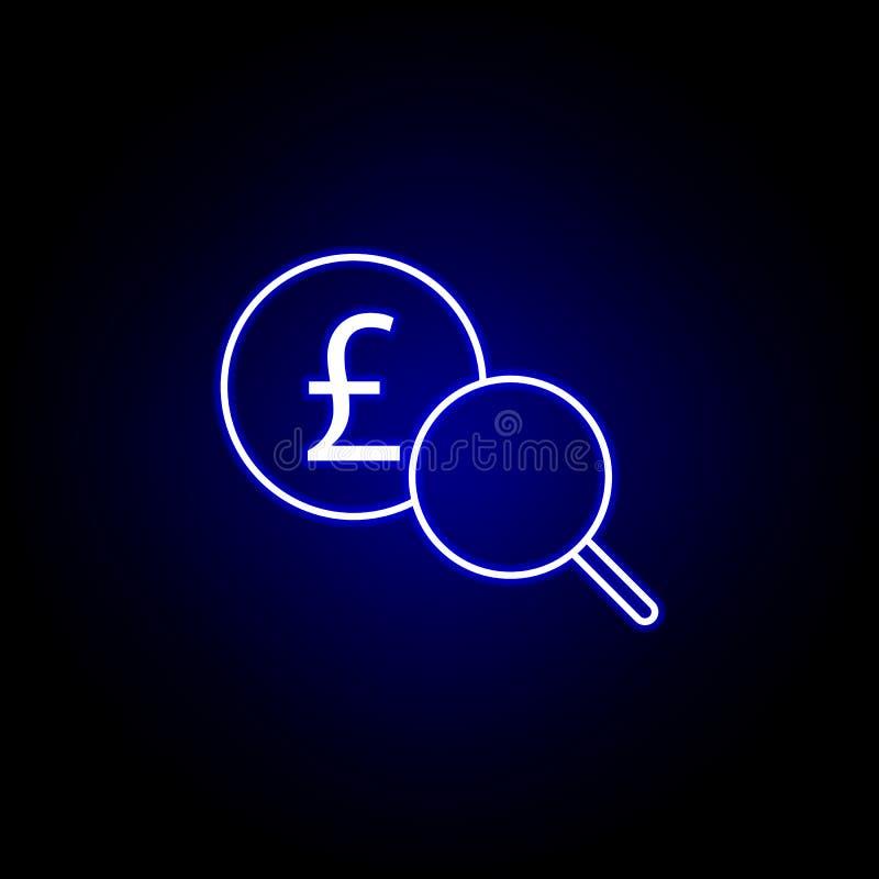 pictogram van het onderzoeks het meer magnifier pond in neonstijl Element van financi?nillustratie Tekens en symbolen het pictogr royalty-vrije illustratie