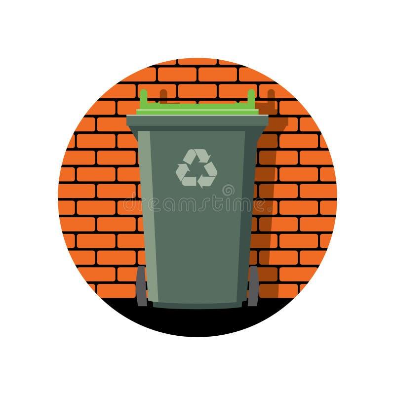 Pictogram van het recycling van wheelie bak tegen de bakstenen muur stock illustratie