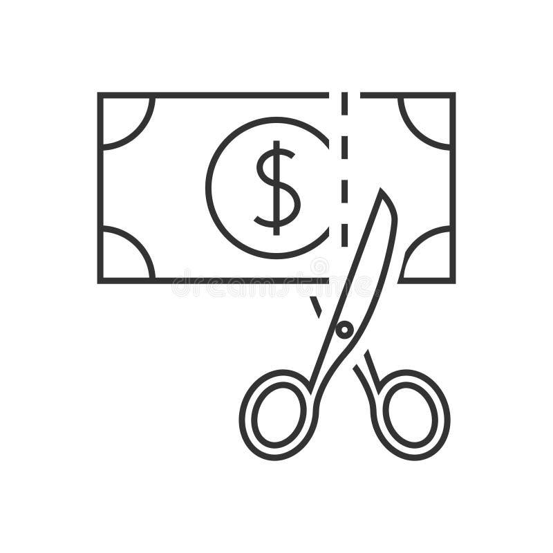 Pictogram van het schaar het scherpe geld stock illustratie