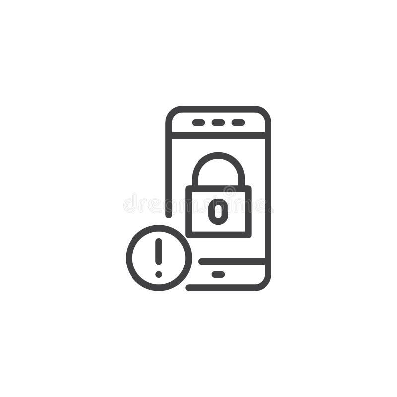 Pictogram van het het slotoverzicht van Smartphone het veilige royalty-vrije illustratie
