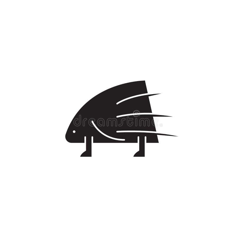 Pictogram van het stekelvarken het zwarte vectorconcept Stekelvarken vlakke illustratie, teken vector illustratie