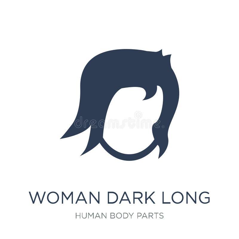 Pictogram van het vrouwen het donkere lange haar In vlakke vectorvrouw donker lang Ha vector illustratie