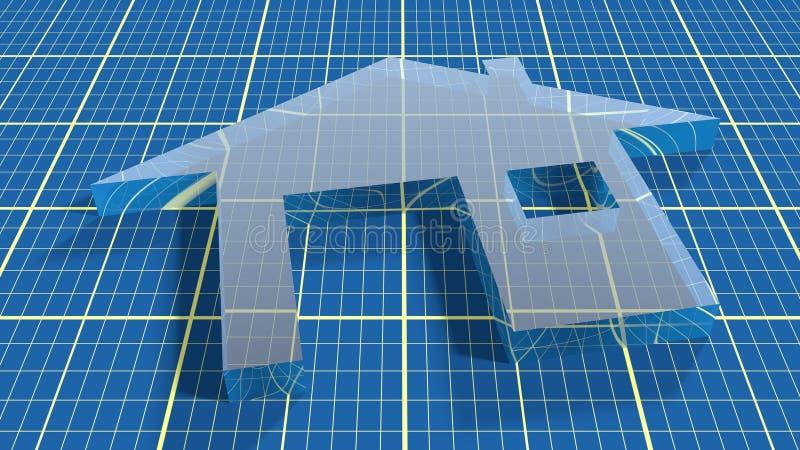 Pictogram van huis het abstracte onroerende goederen op blauwdrukachtergrond stock illustratie