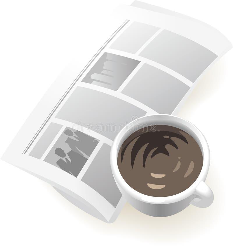 Pictogram van krant en koffie stock illustratie
