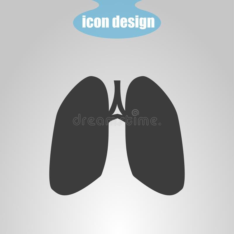 Pictogram van longen op een grijze achtergrond Vector illustratie vector illustratie